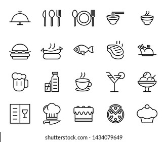 Food and drink outline icon set vector.