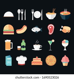 Food and drink outline icon set vector