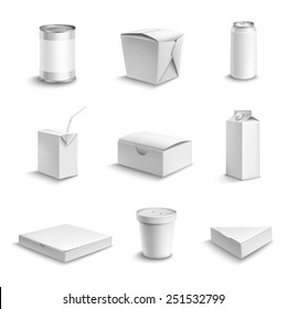 Food and drink plastic and cardboard package blank white objects set isolated vector illustration