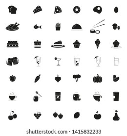 Food and drink set of 42 icons backgound