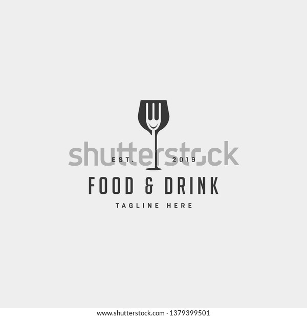 food and drink simple flat logo design vector illustration icon element