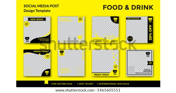 Food Drink Social Media Post Design Stock Vector Royalty Free 1465605551