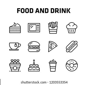 Food And Drink Thin Icon Set contains such icons Muffin, Pie, Pizza Slice, Hamburger, Donut, Wedding Pie, Tea, Hot Dog, Fried Potatoes