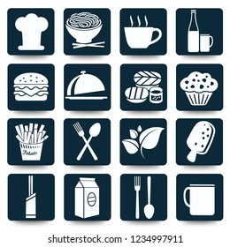 Food and drink vector icon set