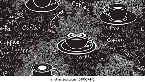 "Food and drink vector seamless pattern with various coffee cups and words ""Coffee"" handwritten by chalk on grey board. Endless food vector texture"
