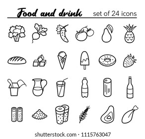 Food and drink. Vector set of 24 outline icons
