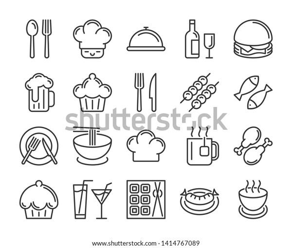 Food and drinks icon. Restaurant line icons set. Vector illustration.