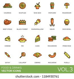 Food and drinks icon set. Churros, waffles, wok box, popcorn, mushroom, beef steak, black forest, marshmallow, squid, bowl, cheese, pie, cake, macaroon, fried rice, satay, lollipop, crepes, macaroni.