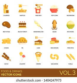 Food and drinks icons including churros, waffles, wok box, popcorn, mushroom, beef steak, black forest, marshmallow, squid, rice bowl, cheese, cake, macaroon, fried, satay, lollipop, crepes, macaroni.