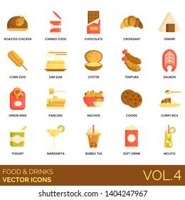 Food and drinks icons including roasted chicken, canned, chocolate, croissant, onigiri, corn dog, dim sum, oyster, tempura, salmon, onion ring, pancake, nachos, cookie, curry rice, yogurt, margarita.