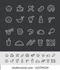 Food and Drinks Icons - Set 2 of 2 // Black Line Series -- EPS 10+ Contain Transparencies