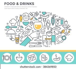 Food and drinks illustration, thin line flat design