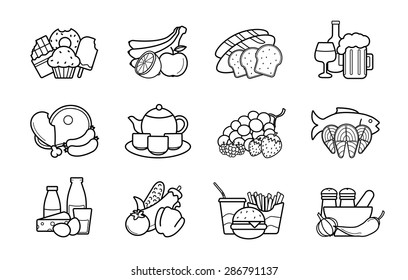 Food and drinks linear icons set. Vector line art symbols
