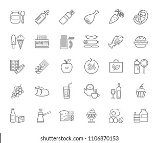 Food and drinks, production and sale. Gray line drawings on a white field. Vector clip art.