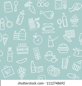 Food and drinks, production and sale. Vector background. White line icons on the blue box.