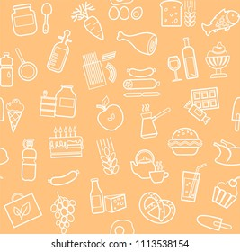 Food and drinks, production and sale. Vector background. White line icons on the coral field.