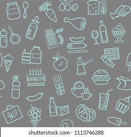 Food and drinks, production and sale. Vector background. Blue line icons on the gray box.
