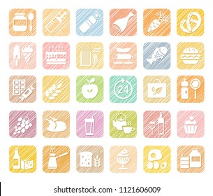 Food and drinks, production and sale. White, flat icons on a colored shaded field. Simulation of shading. Vector clip art.