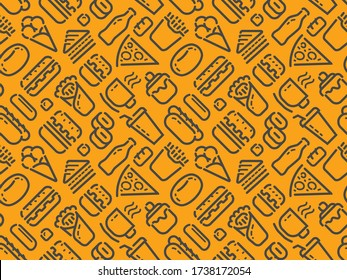 Food and drinks seamless background. Pattern vector illustration