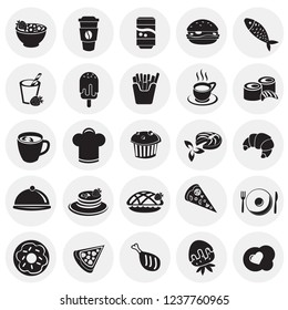 Food and drinks set on circles background icons