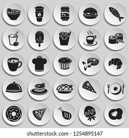 Food and drinks set on plates background icons