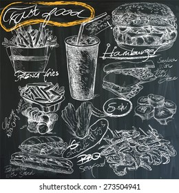 Food and Drinks. Slogan, FAST FOOD. Hand drawn white vector illustrations on blackboard. Easy editable in layers and groups.