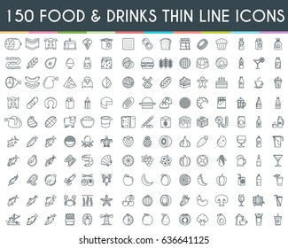 Food and drinks thin line icons set. Vector Illustration