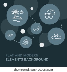 food, drinks, travel outline vector icons and elements background with circle bubbles networks.