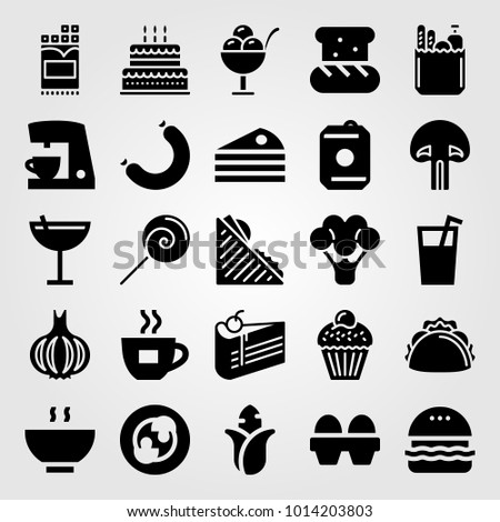 Food And Drinks Vector Icon Set Birthday Cake Coffee Maker Piece Of