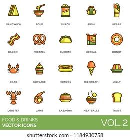 Food and drinks vector icons. Sandwich, soup, snack, sushi, kebab, bacon, pretzel, burrito, cereal, donut, crab, cupcake, hotdog, ice cream, jelly, lobster, lamb, lasagna, meatballs, toast.