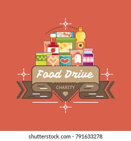 Food Drive canned food charity movement, vector badge logo illustration