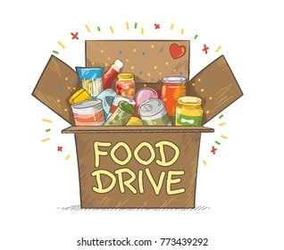 Food Drive charity movement logo vector illustration