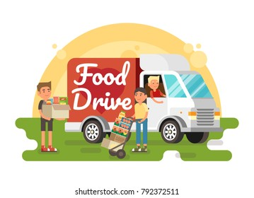 Food Drive non perishable food charity movement, vector badge logo illustration with food van and boxes.