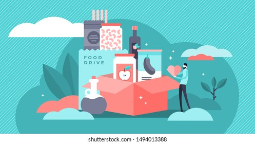 Food drive vector illustration. Flat tiny grocery charity persons concept. Canned lunch donation to support poor community. Social responsibility and humanitarian help. Catering support unpackaging.
