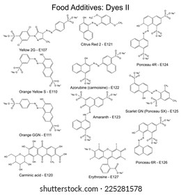 Food dyes - structural chemical formulas of food additives, second set E107-E127, 2d illustration on a white background, vector, eps 8