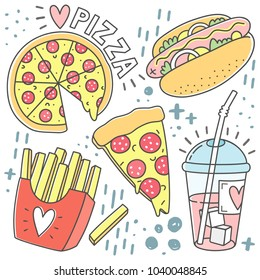 Food fashion Badges, Patches, Stickers set in doodle style. Vector illustration