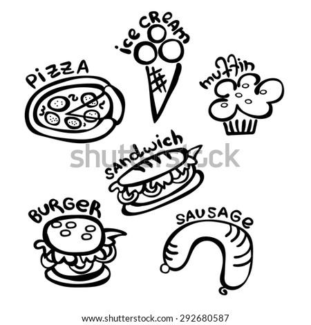 Food Fast Food Schematic Representation Sandwich Stock Vector