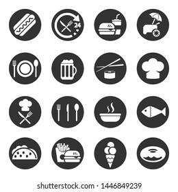 Food, fast-food, restaurant  icon set, vector.