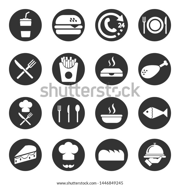 Food, fast-food, restaurant  icon set, vector.