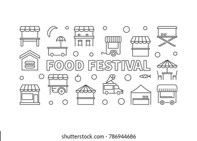 Food festival vector linear horizontal illustration. Street food concept banner in thin line style on white background