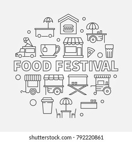 Food festival vector linear illustration. Round street food concept symbol in thin line style