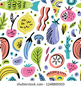 Food flat hand drawn seamless pattern. Fruits, vegetables, fish. Healthy nutrition texture. Organic food scandinavian illustrations. Diet sketch color cliparts. Kitchen textile, background vector fill