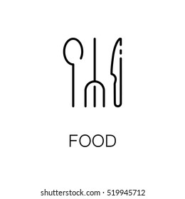 Food flat icon. Single high quality outline symbol of travel for web design or mobile app. Thin line signs of tourism for design logo, visit card, etc. Outline pictogram of restaurant