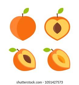 Food - Fruit - Flat Icon Set - Peach Isolated on White Background