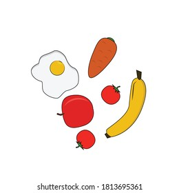 Food and fruits vector illustration. grat for template design or any purpose.