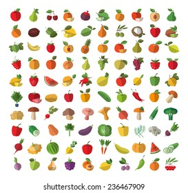 Food. Fruits and vegetables. Colored icons set. Vector illustration