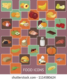 Food. Fruits, vegetables, fats, meat, cereals, dairy products. For your convenience, each significant element is in a separate layer. Eps 10