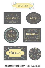 Food gift labels, badges with lettering. Warm wishes, Enjoy, Thanks, Bon Appetit, Cheers. Calligraphic and typographic elements on chalkboard. Can be used for personalization homemade food and gifts
