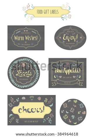 food gift labels badges lettering warm stock vector royalty free