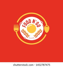 Food and Go bistro logo. Street food emblem. Fork, spoon and fried eggs with bacon in the red background. Cafe or restaurant emblem.